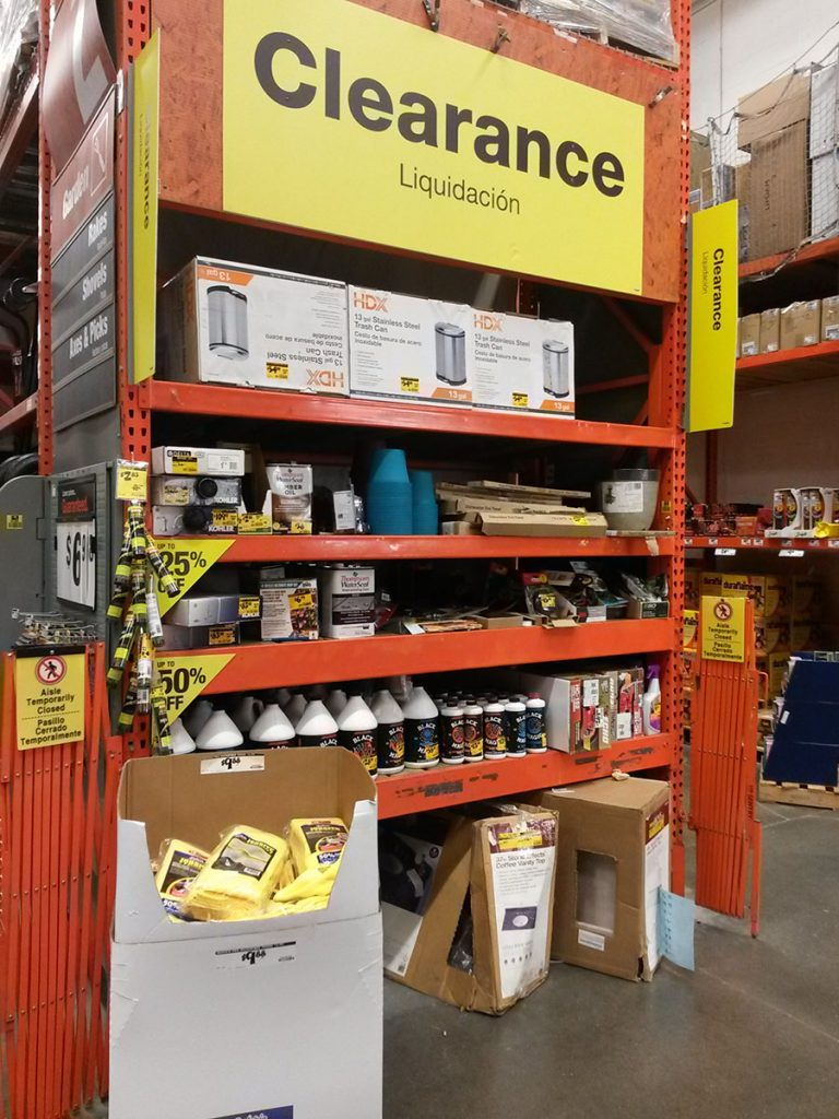Home Depot Clearance End Cap Section
