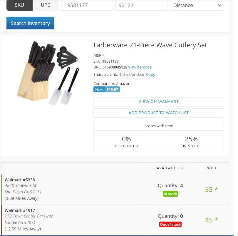 Walmart Clearnace inventory checker