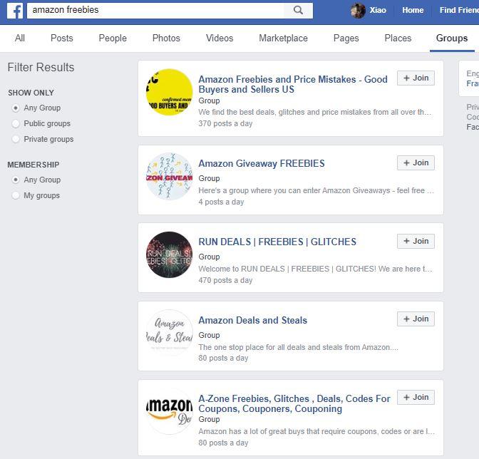 Amazon coupon page websites facebook groups