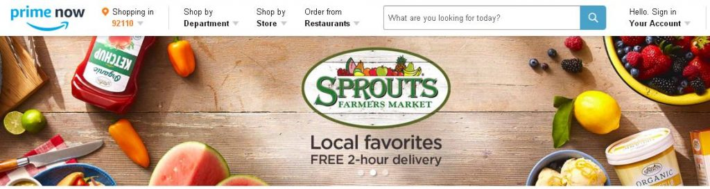 Sprouts Amazon Same Day Prime Now Delivery